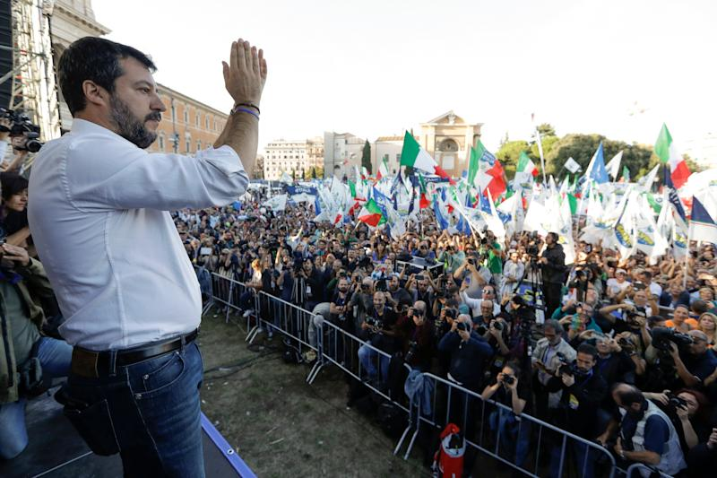 The League leader Matteo Salvini addresses a rally in Rome, Saturday, Oct. 19, 2019. Thousands of protesters are gathering in Rome for a so-called