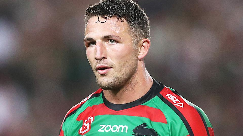 Sam Burgess is pictured playing for the NRL's South Sydney Rabbitohs.
