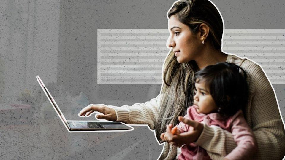 Woman and child looking at a computer