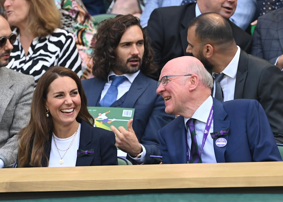 LONDON, ENGLAND - JULY 02: Catherine, Duchess of Cambridge, Joe Wicks and chairman of the All England Lawn Tennis Club, Ian Hewitt attend the Wimbledon Tennis Championships at the All England Lawn Tennis and Croquet Club on July 02, 2021 in London, England. (Photo by Karwai Tang/WireImage)