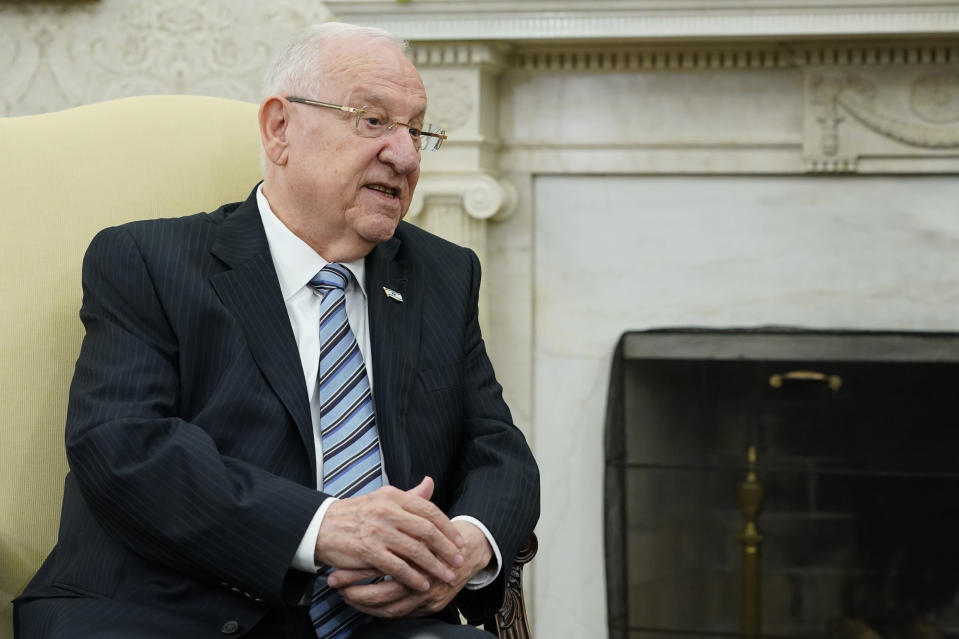 Israeli President Reuven Rivlin speaks during his meeting with President Joe Biden in the Oval Office of the White House in Washington, Monday, June 28, 2021. (AP Photo/Susan Walsh)