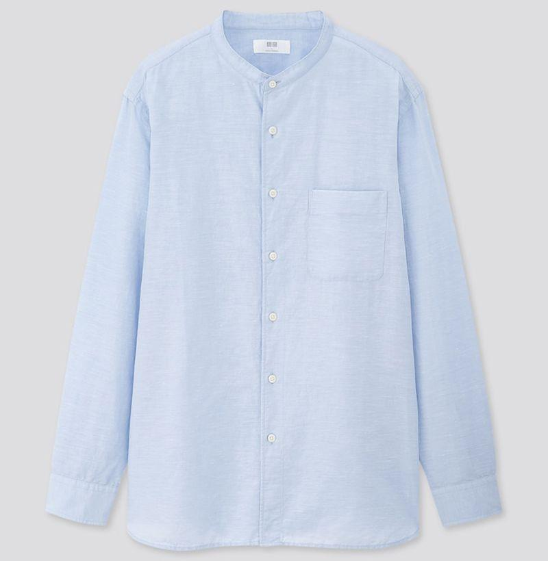 """<p><strong>Uniqlo</strong></p><p>uniqlo.com</p><p><strong>$29.90</strong></p><p><a href=""""https://go.redirectingat.com?id=74968X1596630&url=https%3A%2F%2Fwww.uniqlo.com%2Fus%2Fen%2Fmen-linen-cotton-stand-collar-long-sleeve-shirt-425094.html&sref=https%3A%2F%2Fwww.esquire.com%2Fstyle%2Fmens-fashion%2Fg33418169%2Fbest-mens-linen-shirts%2F"""" rel=""""nofollow noopener"""" target=""""_blank"""" data-ylk=""""slk:Buy"""" class=""""link rapid-noclick-resp"""">Buy</a></p><p>The best damn stand collar shirt you can buy for less than fifty bucks, bar none. </p>"""