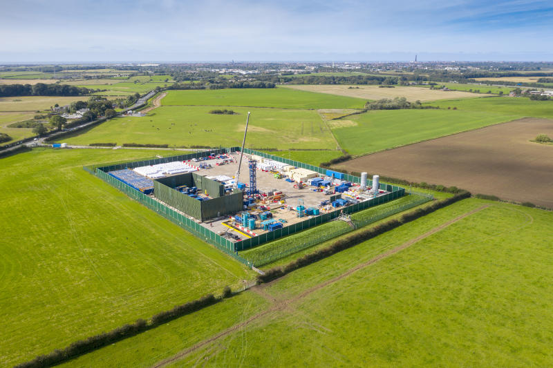 PRESTON, ENGLAND - SEPTEMBER 16: An aerial view of the Cuadrilla shale gas extraction (fracking) site at Preston New Road, near Blackpool on September 16, 2019 in Preston, England. Operations at the shale gas extraction site were recently paused by Cuadrilla as a precaution after an earth tremor was detected by sensors. (Photo by Christopher Furlong/Getty Images)
