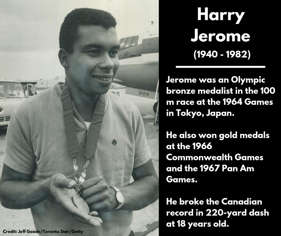 <p><strong>Harry Jerome</strong><br />(1940 – 1982)<br />Jerome was an Olympic bronze medalist in the 100 m race at the 1964 Games in Tokyo, Japan.<br />He also won gold medals at the 1966 Commonwealth Games and the 1967 Pan Am Games.<br />He broke the Canadian record in 220-yard dash at 18 years old. </p>