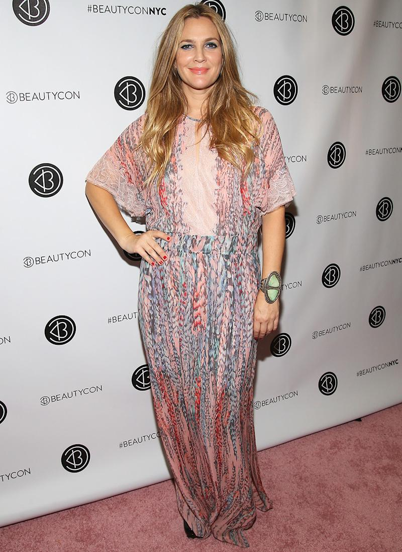 Drew Barrymore Dons A Pink Flowy Outfit And Flower Crown For Beautycon