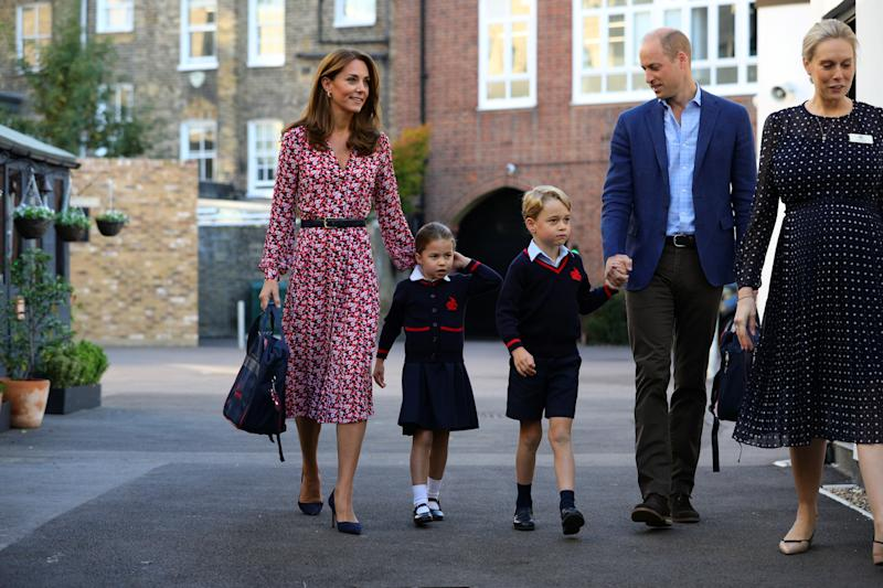 Britain's Princess Charlotte arrives for her first day at school accompanied by her mother Catherine, Duchess of Cambridge, father Prince William, Duke of Cambridge, and brother Prince George, at Thomas's Battersea in London, Britain September 5, 2019. Aaron Chown/Pool via REUTERS