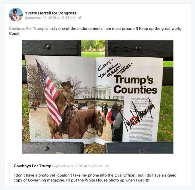 "In a Facebook post deleted Monday, Yvette Herrell's campaign account wrote, ""Cowboys For Trump is truly one of the endorsements I am most proud of!"" and gave a shout-out to founder Couy Griffin."