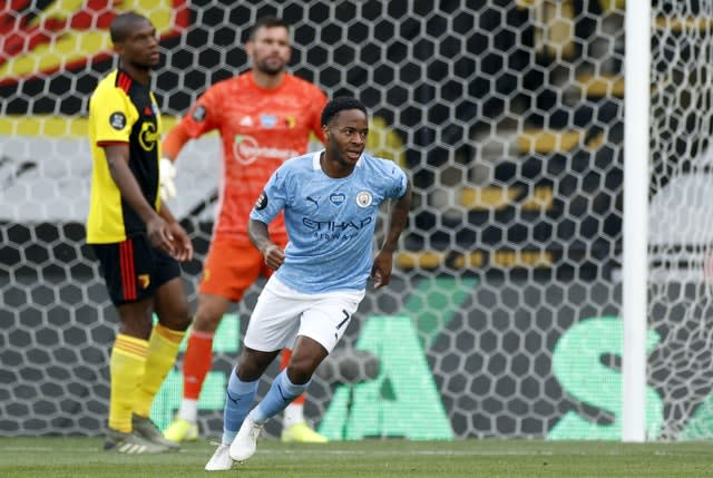 Raheem Sterling scored twice as Watford lost to Manchester City.
