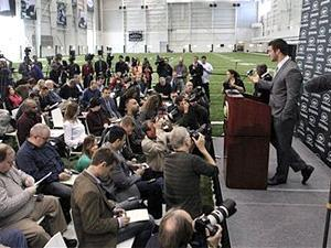 Tim Tebow holds his first news conference with the New York Jets, in Florham Park, N.J., on Monday, March 26, 2012