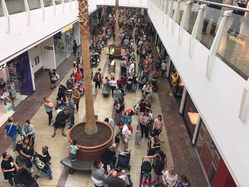 The queue at The Mall in Bristol stretched through the entire shopping centre (Emma Parry)