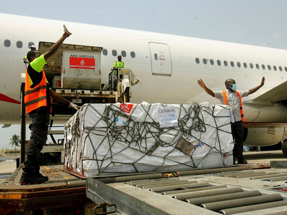 A shipment of Covid-19 vaccines distributed by the Covax facility arrives in Abidjan, Ivory Coast, on Friday 25 February (AP/Diomande Ble Blonde)