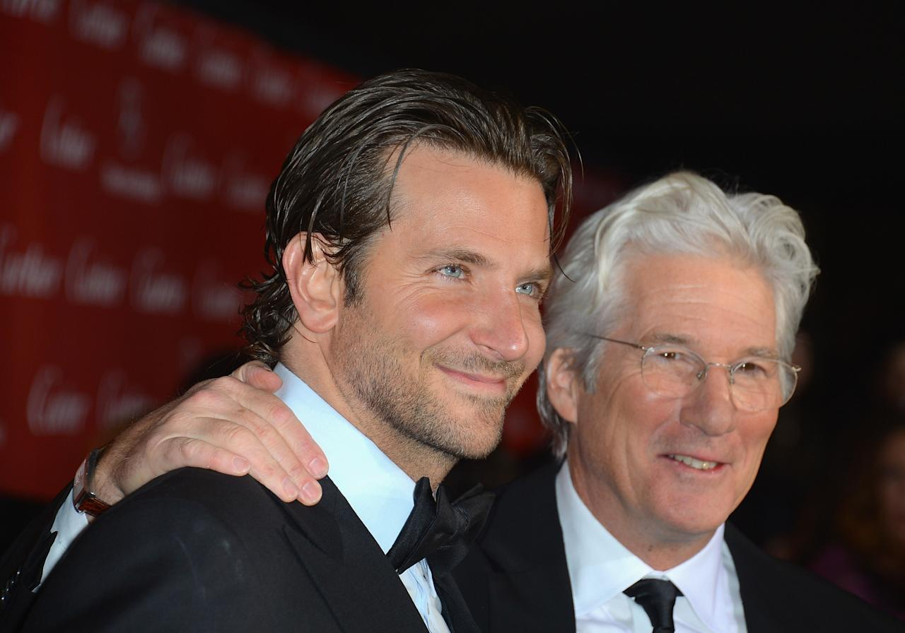 PALM SPRINGS, CA - JANUARY 05:  Actors Richard Gere and Bradley Cooper arrive at The 24th Annual Palm Springs International Film Festival Awards Gala on January 5, 2013 in Palm Springs, California.  (Photo by Frazer Harrison/Getty Images)