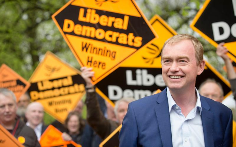 Liberal Democrat leader Tim Farron during the launch of the Liberal Democrat's Manchester campaign, as they target seats in Gorton and Withington - PA