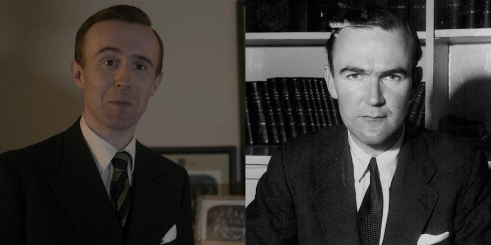 <p>John Heffernan plays John Grigg, formerly Lord Altrincham, the writer who boldly criticized Queen Elizabeth II in the mid-1950s and recommended reforms that the monarch actually carried out, including televising the annual Christmas message for the first time in 1957. Sweet. </p>