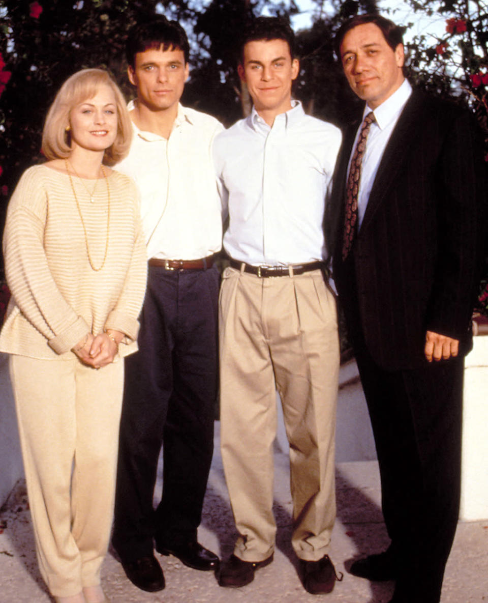 """<p><b>Aired:</b> May 22, 1994 on CBS<br><b>Stars:</b> Edward James Olmos and Beverly D'Angelo<br><br><b>Ripped from the headlines about:</b> Brothers Lyle and Erik Menendez, who were convicted — and sentenced to life without the possibility of parole — in the 1989 murders of their parents, wealthy Jose and Kitty. The brothers initially denied killing their parents, but drew suspicion with outrageous behavior like buying a Rolex, a Porsche, and a restaurant while """"grieving."""" <br><br><i>(Credit: Everett Collection)</i> </p>"""
