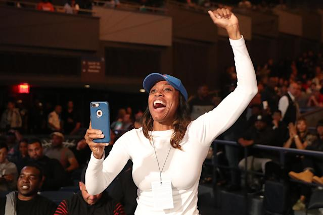 <p>A family member cheers on a fighter during the NYPD Boxing Championships at the Theater at Madison Square Garden on June 8, 2017. (Photo: Gordon Donovan/Yahoo News) </p>