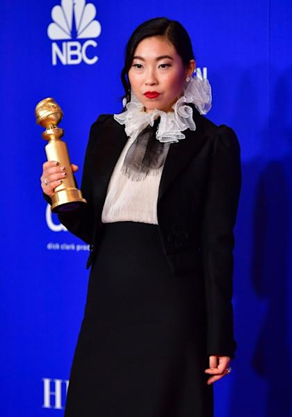 US actress Awkwafina wowed the Golden Globes red carpet watchers with her Dior tux look