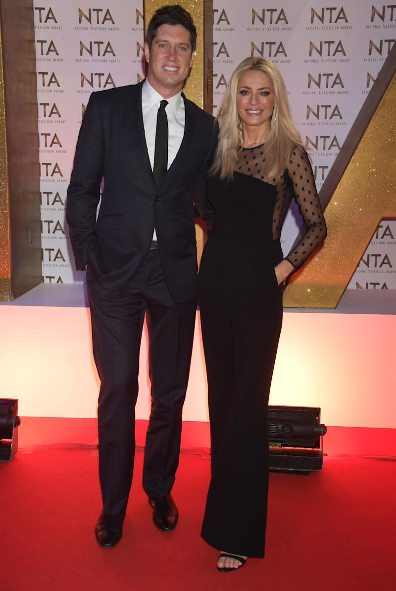 LONDON, ENGLAND - JANUARY 28: Vernon Kay and Tess Daly attend the National Television Awards 2020 at The O2 Arena on January 28, 2020 in London, England. (Photo by David M. Benett/Dave Benett/Getty Images)