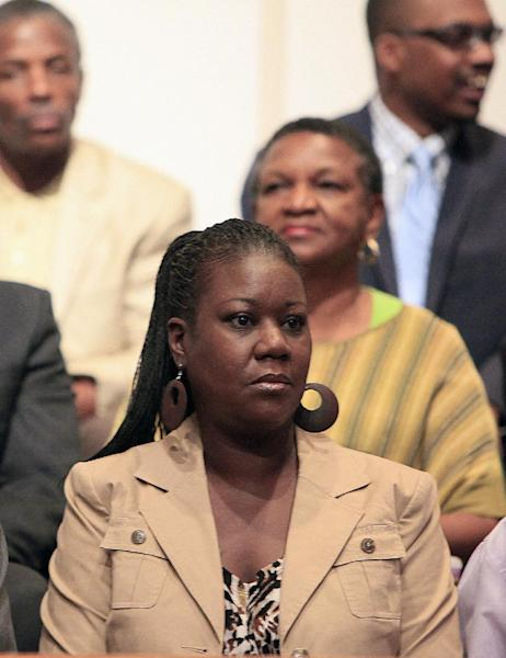 Trayvon Martin's mother, Sybrina Fulton listens during a community forum on slain Florida teenager Trayvon Martin, 17, at the Macedonia Baptist Church in Eatonville, Fla., Monday, March 26, 2012. Students also held rallies on the campus of Florida A&M University in Tallahassee and outside the Seminole County Criminal Justice Center, where prosecutors are reviewing the case to determine if charges should be filed. (AP Photo/Julie Fletcher)