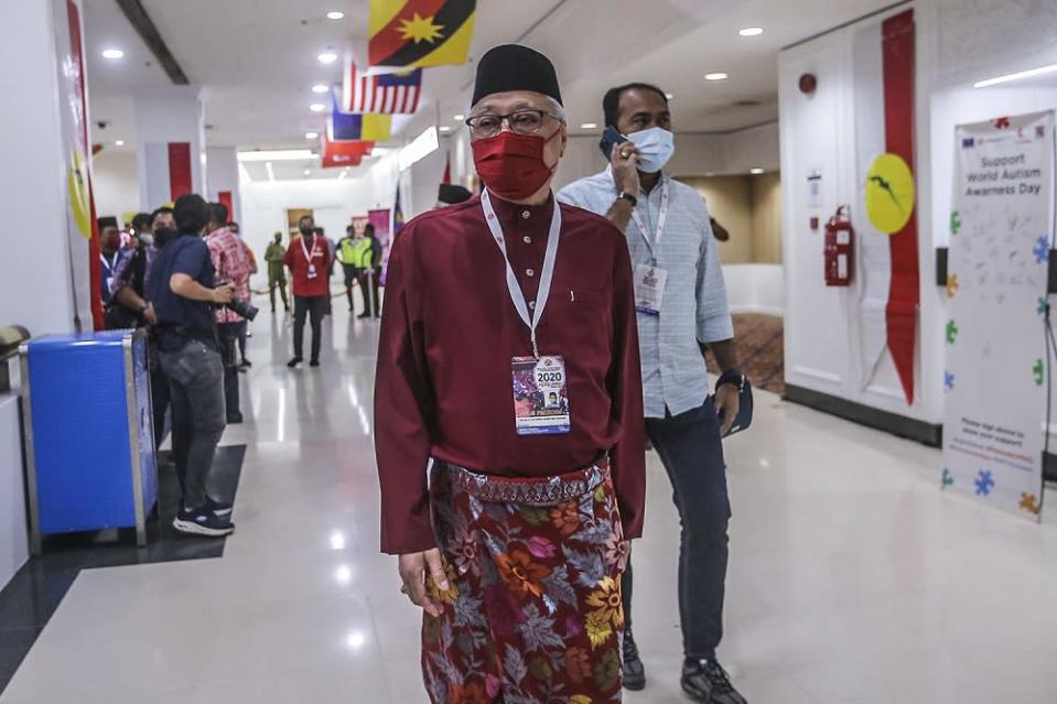 Umno vice-president Datuk Seri Ismail Sabri Yaakob arrives for the 2021 Umno annual general assembly in Kuala Lumpur March 27, 2021. ― Picture by Hari Anggara.