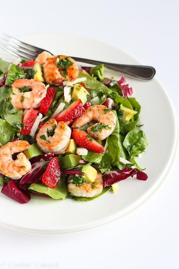"""<p>Juicy shrimp and sweet strawberries marry together to make this mouthwatering salad. Top it off with sliced nuts or even a hint of basil, and you'll be in heaven.</p> <p><strong>Get the recipe:</strong> <a href=""""http://www.cookincanuck.com/2015/04/seared-shrimp-salad-jicama-strawberries-avocado-recipe"""" class=""""link rapid-noclick-resp"""" rel=""""nofollow noopener"""" target=""""_blank"""" data-ylk=""""slk:shrimp salad with jicama, strawberries, and avocado"""">shrimp salad with jicama, strawberries, and avocado</a></p>"""