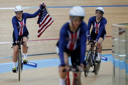 Cycling - UCI Track World Championships - Women's Team Pursuit, Final - Hong Kong, China – 13/4/17 - The U.S. team celebrate after winning gold. REUTERS/Bobby Yip