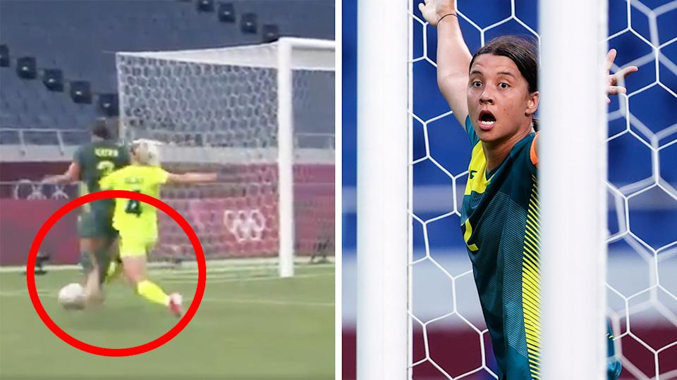 Matildas captain Sam Kerr was denied a penalty on this play in the first half of their group match against Sweden at the Tokyo Olympics. Pictures: Eurosport/Getty Images