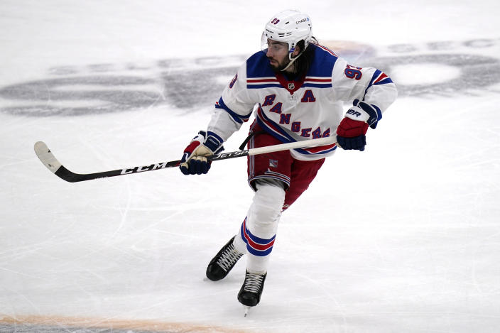 New York Rangers center Mika Zibanejad (93) skates against the Boston Bruins during the third period of an NHL hockey game, Saturday, May 8, 2021, in Boston. (AP Photo/Charles Krupa)
