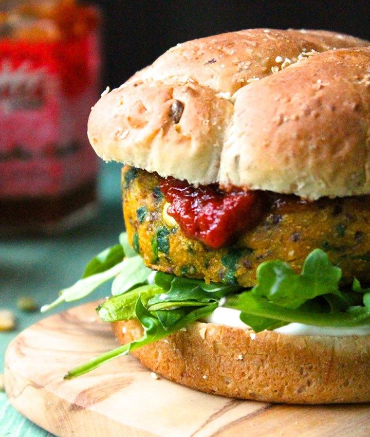 "Craving a veggie burger? These super flavorful sweet potato burgers will satisfy your cravings for a hearty dish. Packed with lentils and quinoa and spiced with coriander, turmeric, paprika, and cayenne, these plant-based patties take up only 10 minutes to cook.  <strong>Get the recipe from <a rel=""nofollow"" href=""https://www.mydarlingvegan.com/curried-sweet-potato-burger-with-tomato-chutney-and-cilantro-aioli/"">My Darling Vegan</a>. </strong>"