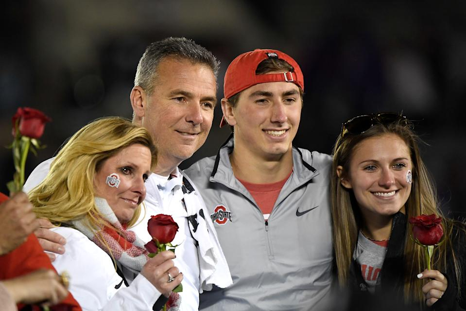 Then-Ohio State coach Urban Meyer with wife Shelley Meyer, son Nathan Meyer and daughter Gisela Meyer celebrate after the team won the Rose Bowl on Jan. 1, 2019. (Kevork Djansezian/Getty)