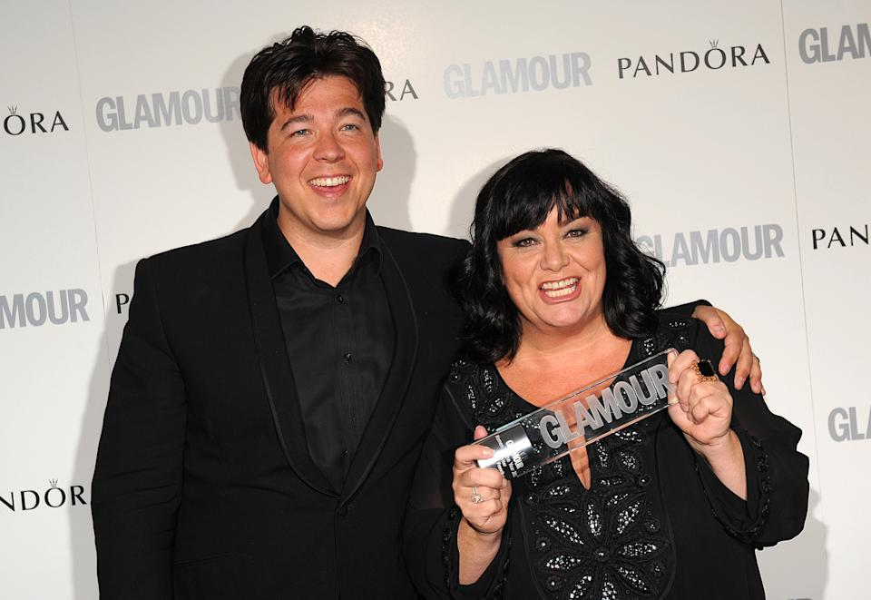Michael McIntyre with winner of the Writer of the Year award Dawn French, at the 2011 Glamour Women of the Year Awards in Berkeley Square, London.
