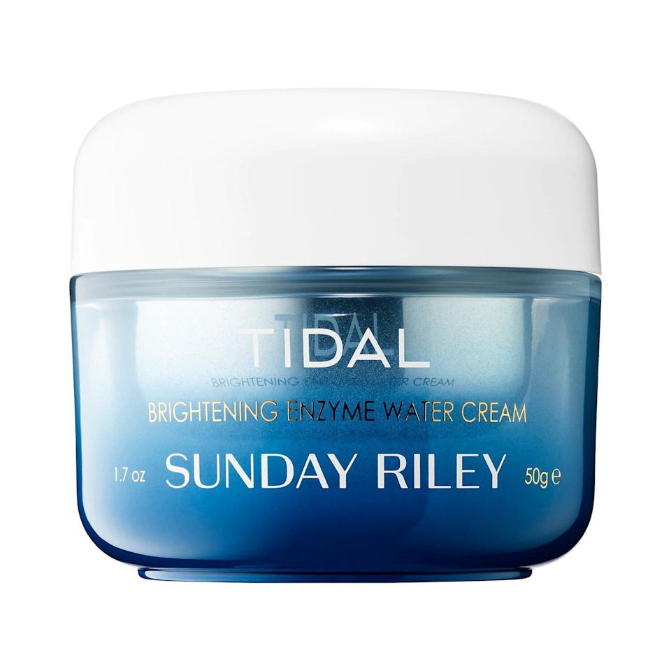 """<h3>Sunday Riley Tidal Brightening Enzyme Water Cream</h3><br>True to the name, Sunday Riley's gel moisturizer is like a tall glass of water for your skin. <br><br><strong>Sunday Riley</strong> Tidal Brightening Enzyme Water Cream, $, available at <a href=""""https://go.skimresources.com/?id=30283X879131&url=https%3A%2F%2Fwww.sephora.com%2Fproduct%2Ftidal-brightening-enzyme-water-cream-P406938%23donotlink"""" rel=""""nofollow noopener"""" target=""""_blank"""" data-ylk=""""slk:Sephora"""" class=""""link rapid-noclick-resp"""">Sephora</a>"""