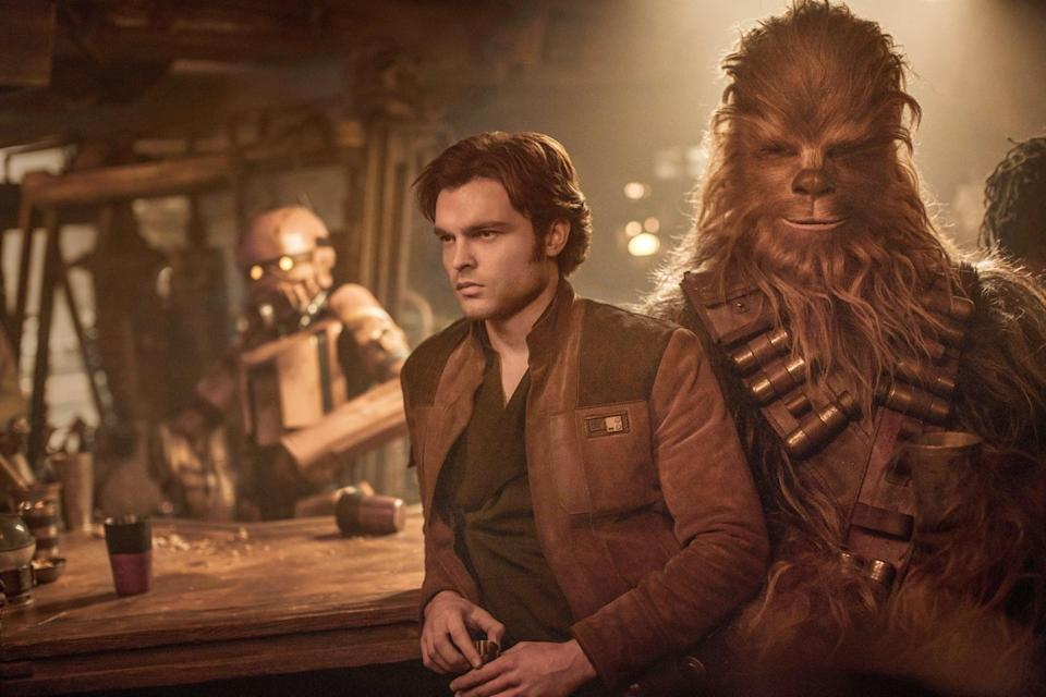 """<p><strong>What it's about:</strong> """"Young Han Solo finds adventure when he joins forces with a gang of galactic smugglers and a 190-year-old Wookie named Chewbacca.""""</p> <p><strong>Ages it's best suited to:</strong> 10 and up</p> <p><a href=""""https://www.netflix.com/title/80220814"""" class=""""link rapid-noclick-resp"""" rel=""""nofollow noopener"""" target=""""_blank"""" data-ylk=""""slk:Watch Solo: A Star Wars Story here!"""">Watch <strong>Solo: A Star Wars Story</strong> here!</a></p>"""