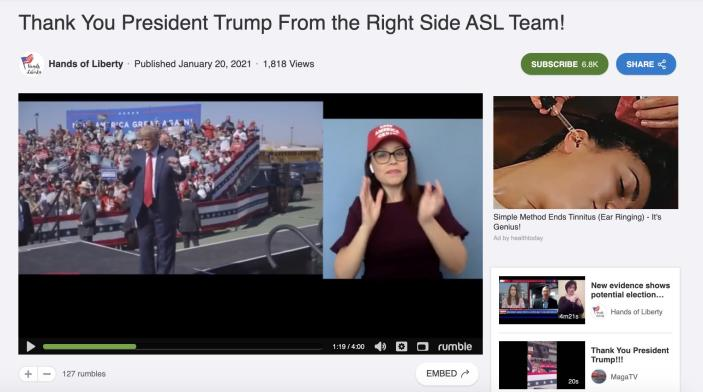 """Heather Mewshaw, an American Sign Language interpreter, in a pro-Trump video from Hands of Liberty, a conservative interpreter group.<span class=""""copyright"""">Heather Mewshaw, an American Sign Language interpreter, in a video of Trump dancing posted by Hands of Liberty, a conservative interpreter group.</span>"""