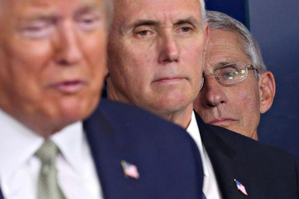 PHOTO: National Institute of Allergy and Infectious Diseases Director Anthony Fauci listens with Vice President Mike Pence as President Donald Trump addresses the daily coronavirus briefing at the White House in Washington on March 17, 2020. (Jonathan Ernst/Reuters)