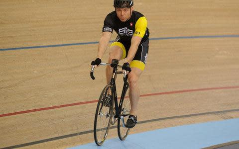 <span>Sir Chris Hoy may have retired, but he still enjoys stretching his legs on the track and will be working in the tribunes at Manchester Velodrome this weekend commentating at the UCI Track World Cup</span> <span>Credit: SCIENCE IN SPORT </span>