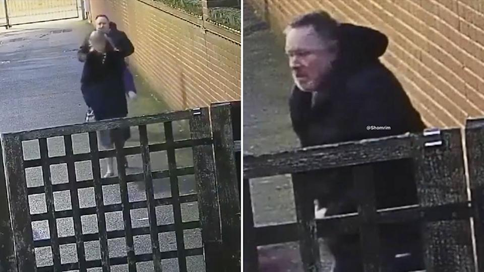 A man was seen assaulting a pregnant woman in the UK, in an unprovoked attack. Source: Twitter/@Shomrim