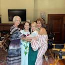 """<p>Sharing a behind the scenes photo from And Just Like That, SJP also introduced another outfit in the form of Nicole Ari Parker's off-the-shoulder orange and white striped ballon-sleeved Rosie Assouilin dress (which is now out of stock). </p><p><a href=""""https://www.instagram.com/p/CSp7bbLt0Hj/"""" rel=""""nofollow noopener"""" target=""""_blank"""" data-ylk=""""slk:See the original post on Instagram"""" class=""""link rapid-noclick-resp"""">See the original post on Instagram</a></p>"""