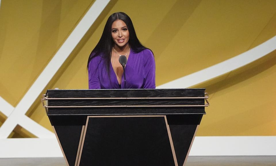 May 15, 2021; Uncasville, Connecticut, USA;  Vanessa Bryant, wife of the late Kobe Bryant, speaks on his behalf during the Class of 2020 Naismith Memorial Basketball Hall of Fame Enshrinement ceremony at Mohegan Sun Arena. Mandatory Credit: David Butler II-USA TODAY Sports