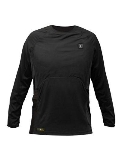 "Buy the ActionHeat battery-heated base layer shirt for <a href=""https://www.amazon.com/dp/B06WGLNHQR/ref=sspa_dk_detail_2?psc=1"" target=""_blank"">$159.99</a>."