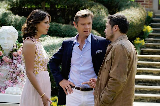 Nathalie Kelley as Cristal, Grant Show as Blake, and Nick Wechsler as Matthew in 'Dynasty' (Photo: Jace Downs/The CW)
