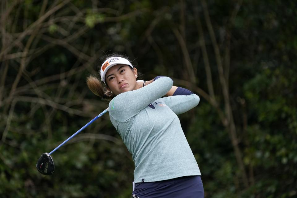 Bianca Pagdanganan, of the Philippines, hits off the ninth tee during the second round of the U.S. Women's Open golf tournament in Houston, Friday, Dec. 11, 2020. (AP Photo/David J. Phillip)