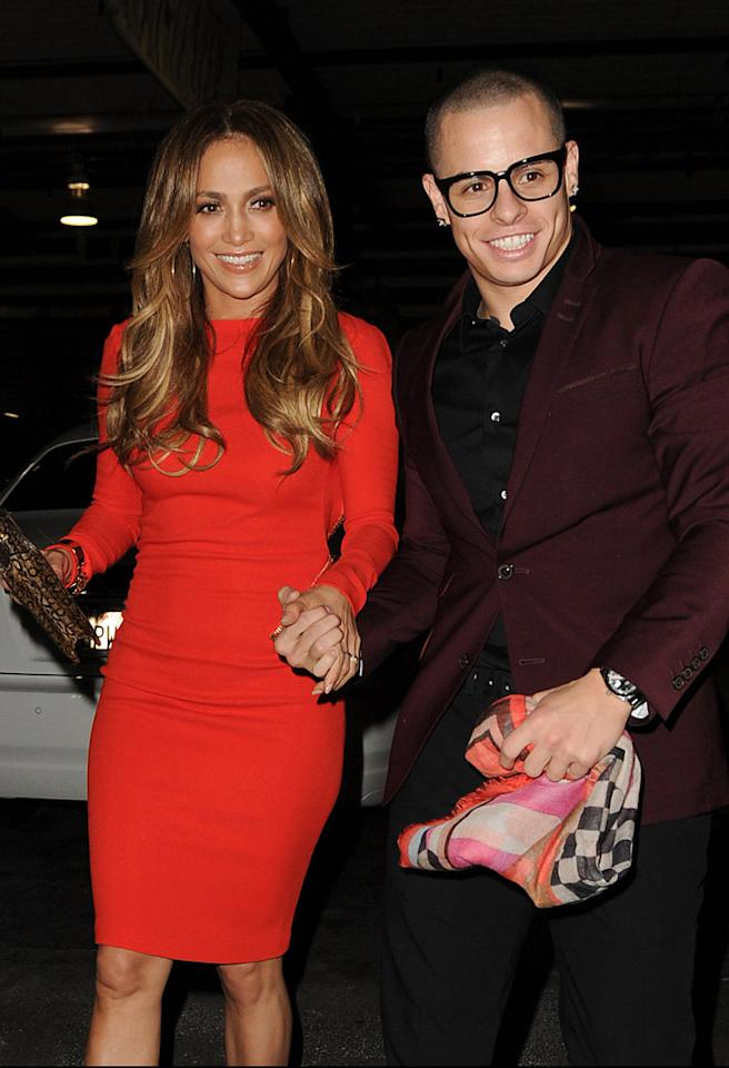 Jennifer Lopez and Casper Smart arrive at Jennifer's birthday party on a boat at Chelsea Piers.  