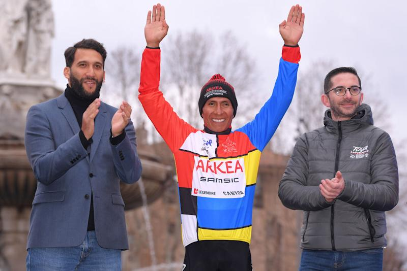 AIXENPROVENCE FRANCE FEBRUARY 16 Podium Nairo Quintana of Colombia and Team Arka Samsic Multicolour Leader Jersey Celebration during the 5th Tour de La Provence 2020 Stage 4 a 1705km stage from Avignon to AixEnProvence TDLP letourdelaprovence TDLP2020 on February 16 2020 in AixEnProvence France Photo by Luc ClaessenGetty Images