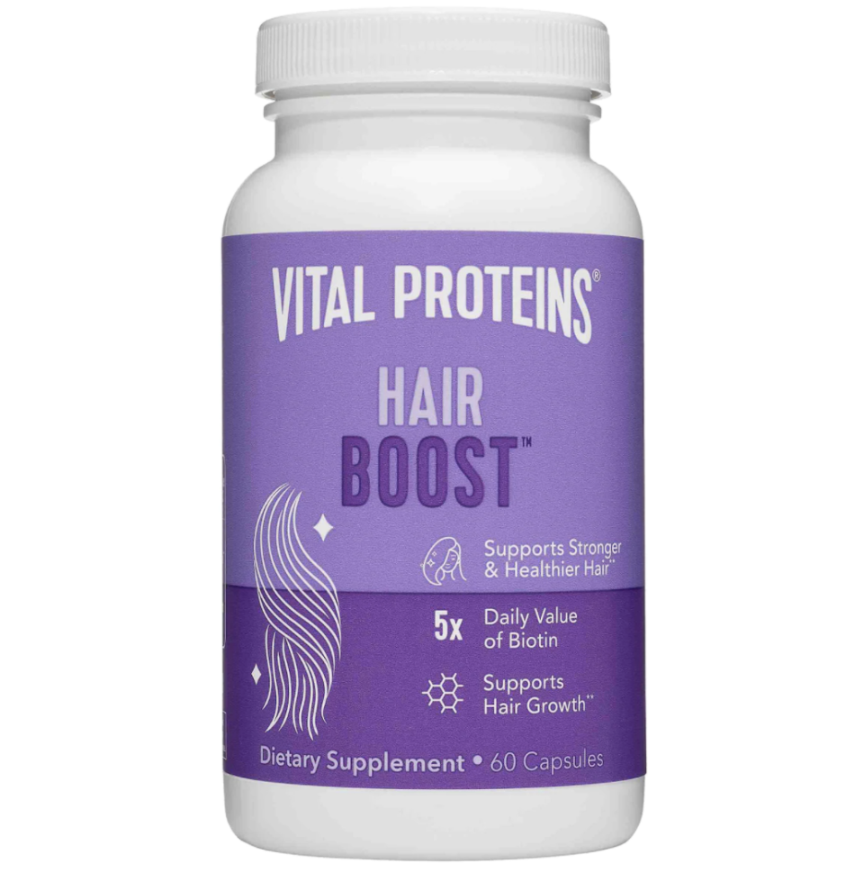 """<p><strong>Vital Proteins</strong></p><p>sephora.com</p><p><strong>$30.00</strong></p><p><a href=""""https://go.redirectingat.com?id=74968X1596630&url=https%3A%2F%2Fwww.sephora.com%2Fproduct%2Fvital-proteins-hair-boost-P468237&sref=https%3A%2F%2Fwww.harpersbazaar.com%2Fbeauty%2Fhair%2Fg7807%2Fhair-growth-vitamins%2F"""" rel=""""nofollow noopener"""" target=""""_blank"""" data-ylk=""""slk:Shop Now"""" class=""""link rapid-noclick-resp"""">Shop Now</a></p><p>This new hair supplement from everyone's favorite collagen brand will help you grow longer, stronger hair in as little as two weeks. The blend of vitamins and minerals like zinc, biotin, amino acids, ashwagandha, and saw palmetto extract help target hair loss caused by stress and nutrient deficiency. </p>"""