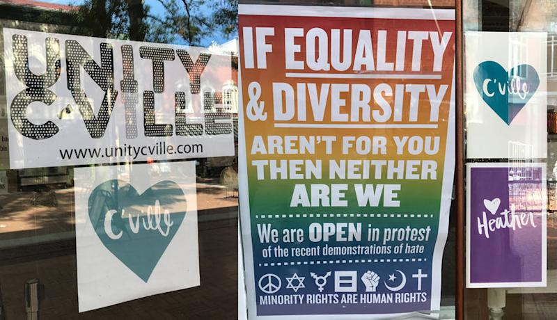 """Signs posted throughout Charlottesville's downtown area in September, a month after the violence of the """"Unite the Right"""" rally. (Katherine Brooks/HuffPost)"""