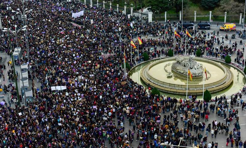 Crowds attending International Women's Day in Madrid on 8 March.