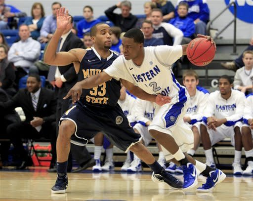 Murray State's Jewuan Long (33) guards against Eastern Illinois' Jeremy Granger (12) during the first half of an NCAA college basketball game on Friday, Dec. 30, 2011, in Charleston, Ill. (AP Photo/ Stephen Haas)