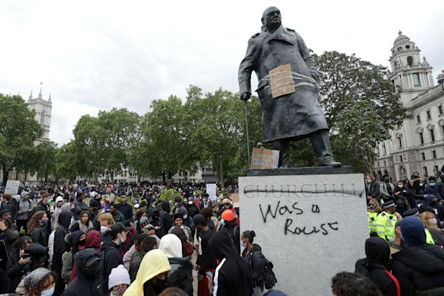 The statue of Winston Churchill was defaced with the words 'was a racist' at an anti-racist demonstration on 7 June. (Isabel Infantes/AFP via Getty Images)