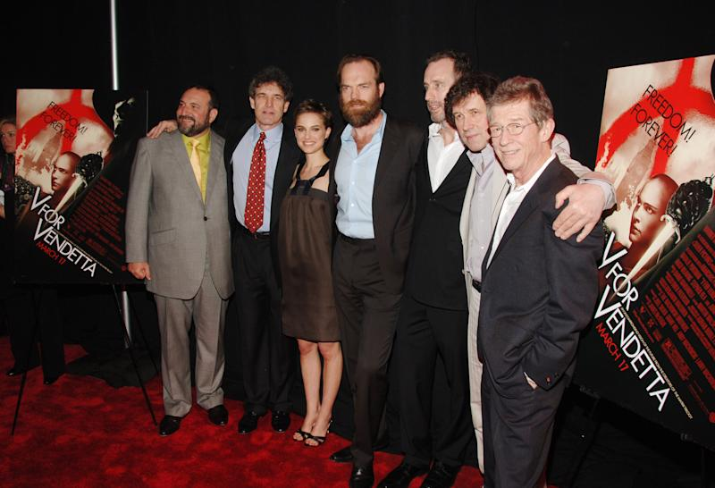 Joel Silver, producer, Alan Horn, President and COO of Warner Bros., Natalie Portman, Hugo Weaving, James McTeigue, director, Stephen Rea and John Hurt (Photo by Stephen Lovekin/WireImage)